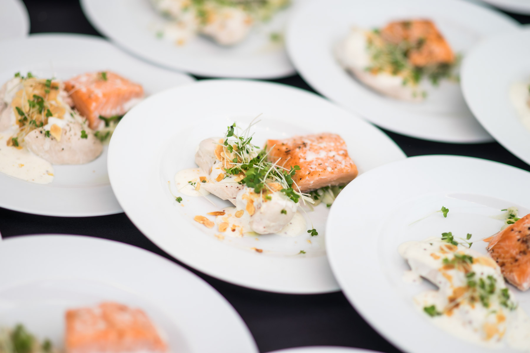 Wedding plates, catering by Searcys