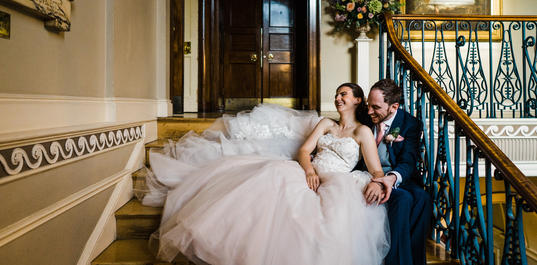 Wedding couple on the stairs, Babb Photo