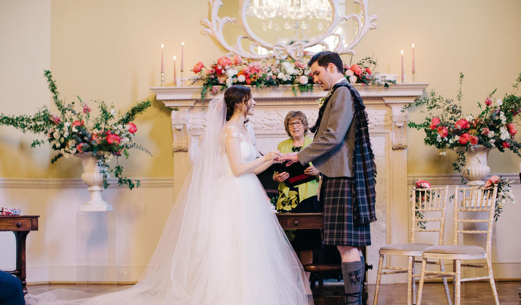 Wedding in the Octagon, Assembly Rooms. M and J photography
