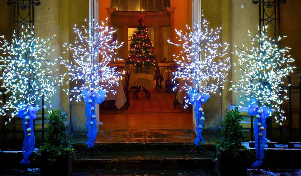 Image: Pump Room exterior with Christmas trees