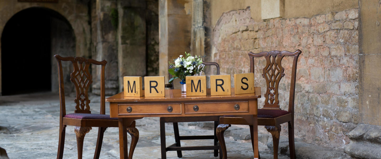 Just married, wedding at the Roman Baths