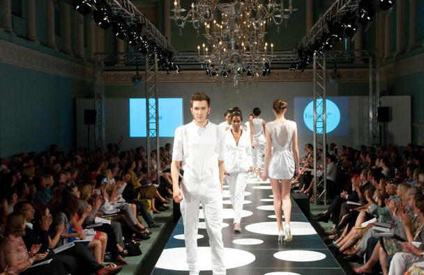 Models on catwalk in the Ball Room