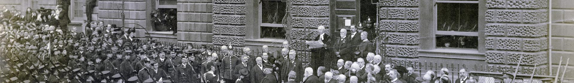 Image: historic photograph outside the Guildhall