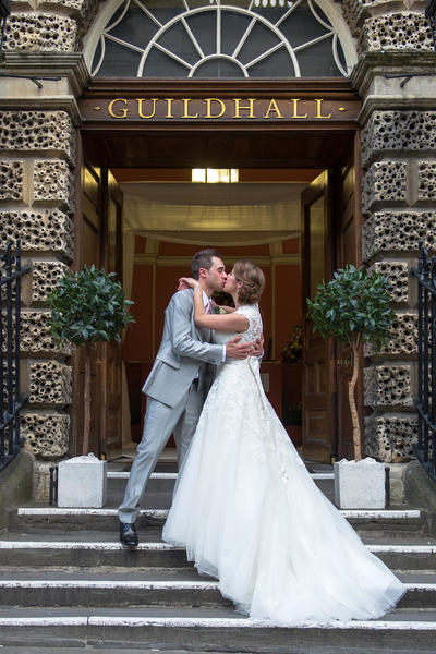 Image: Wedding Couple at the Guildhall entrance, Susie Mackie Photography