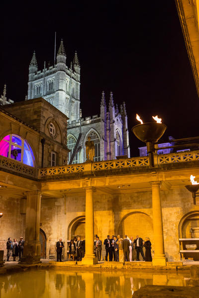 Image: Drinks reception beside the Great Bath