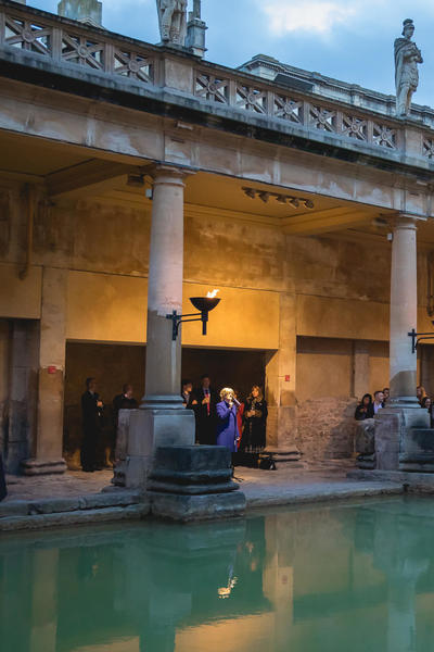 Image: Reception speeches beside the Great Bath at the Roman Baths