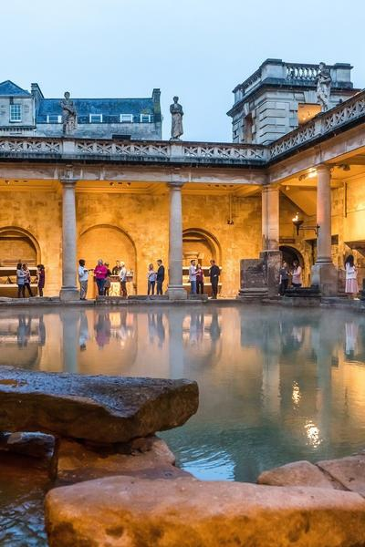 Image: Summer evening drinks beside the Great Bath