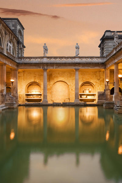 Image: The Great Bath with pink sky