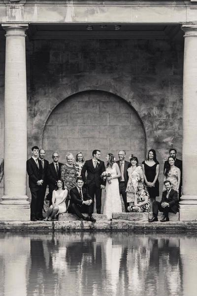 Image: wedding at the Roman Baths, group shot